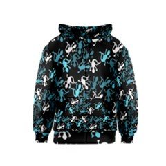 Cyan Lizards Pattern Kids  Zipper Hoodie by Valentinaart