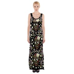 Floral Skulls With Sugar On Maxi Thigh Split Dress