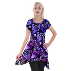 Blue Purple Shattered Glass Short Sleeve Side Drop Tunic by KirstenStar