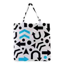 Cyan Right Direction Grocery Tote Bag by Valentinaart