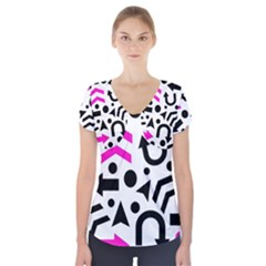Magenta Right Direction Short Sleeve Front Detail Top