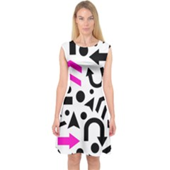 Magenta Right Direction Capsleeve Midi Dress