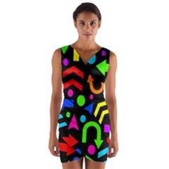 Right Direction   Colorful Wrap Front Bodycon Dress