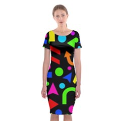 Right Direction - Colorful Classic Short Sleeve Midi Dress by Valentinaart