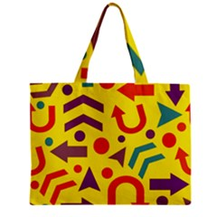 Yellow Direction Zipper Mini Tote Bag by Valentinaart