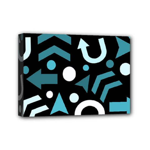 Cyan Direction  Mini Canvas 7  X 5  by Valentinaart