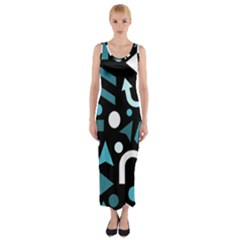 Cyan Direction  Fitted Maxi Dress by Valentinaart