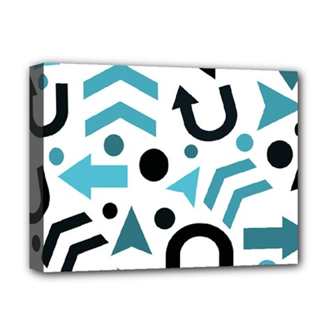 Cyan Direction Pattern Deluxe Canvas 16  X 12   by Valentinaart