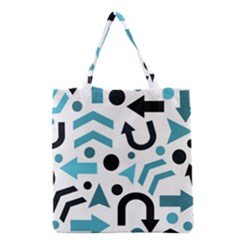 Cyan Direction Pattern Grocery Tote Bag by Valentinaart