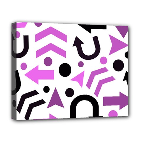 Magenta Direction Pattern Deluxe Canvas 20  X 16   by Valentinaart
