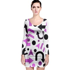 Magenta Direction Pattern Long Sleeve Bodycon Dress