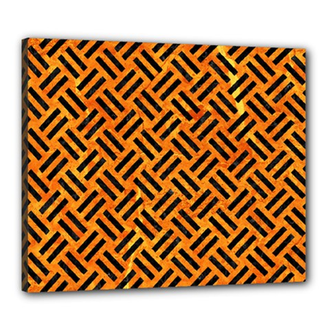 Woven2 Black Marble & Orange Marble (r) Canvas 24  X 20  (stretched) by trendistuff