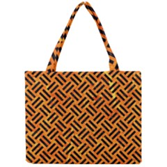 Woven2 Black Marble & Orange Marble (r) Mini Tote Bag by trendistuff