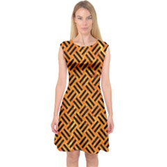 Woven2 Black Marble & Orange Marble (r) Capsleeve Midi Dress