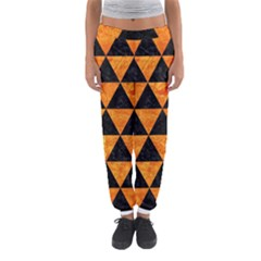 Triangle3 Black Marble & Orange Marble Women s Jogger Sweatpants by trendistuff