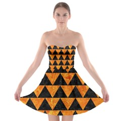 Triangle2 Black Marble & Orange Marble Strapless Bra Top Dress by trendistuff