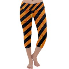 Stripes3 Black Marble & Orange Marble Capri Yoga Leggings
