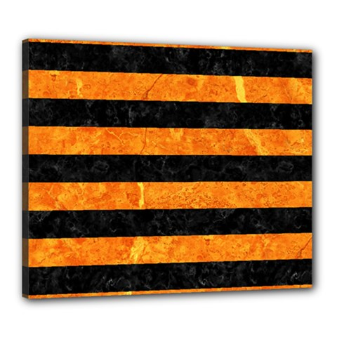 Stripes2 Black Marble & Orange Marble Canvas 24  X 20  (stretched) by trendistuff