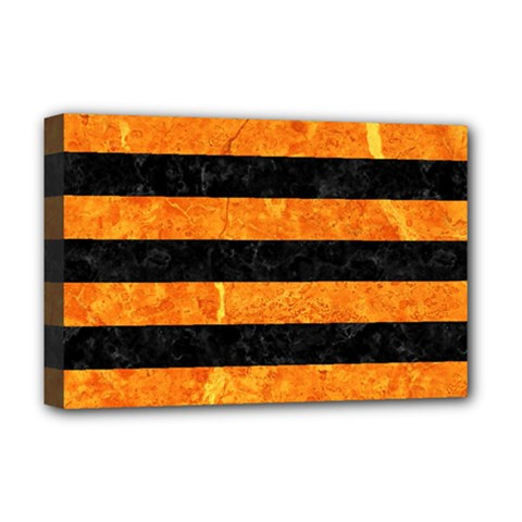 Stripes2 Black Marble & Orange Marble Deluxe Canvas 18  X 12  (stretched) by trendistuff