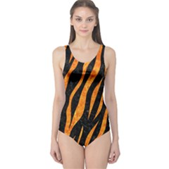 Skin3 Black Marble & Orange Marble One Piece Swimsuit by trendistuff