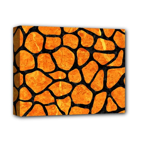 Skin1 Black Marble & Orange Marble Deluxe Canvas 14  X 11  (stretched) by trendistuff