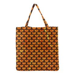 Scales3 Black Marble & Orange Marble (r) Grocery Tote Bag by trendistuff