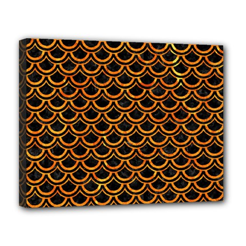 Scales2 Black Marble & Orange Marble Canvas 14  X 11  (stretched) by trendistuff
