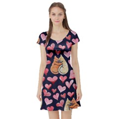 Crazy Cat Love Short Sleeve Skater Dress by BubbSnugg