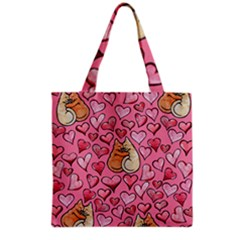 Cat Love Valentine Grocery Tote Bag by BubbSnugg