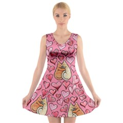 Cat Love Valentine V Neck Sleeveless Skater Dress by BubbSnugg
