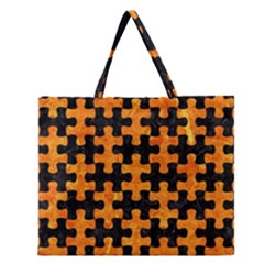 Puzzle1 Black Marble & Orange Marble Zipper Large Tote Bag by trendistuff