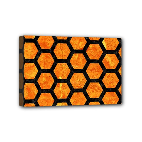 Hexagon2 Black Marble & Orange Marble (r) Mini Canvas 6  X 4  (stretched) by trendistuff