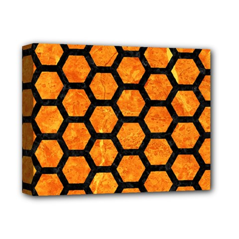 Hexagon2 Black Marble & Orange Marble (r) Deluxe Canvas 14  X 11  (stretched) by trendistuff