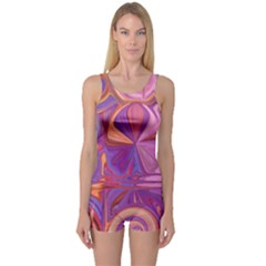 Candy Abstract Pink, Purple, Orange One Piece Boyleg Swimsuit