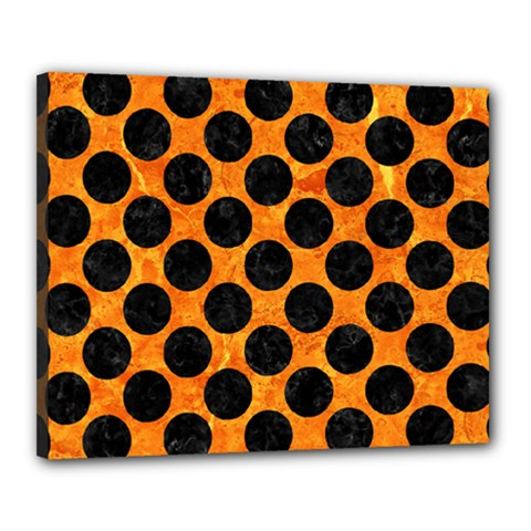 Circles2 Black Marble & Orange Marble (r) Canvas 20  X 16  (stretched) by trendistuff