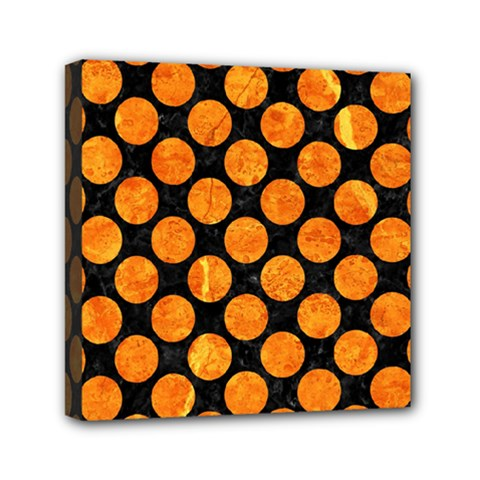 Circles2 Black Marble & Orange Marble Mini Canvas 6  X 6  (stretched) by trendistuff