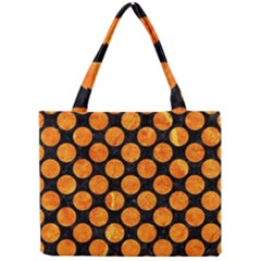 Circles2 Black Marble & Orange Marble Mini Tote Bag by trendistuff