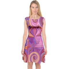 Candy Abstract Pink, Purple, Orange Capsleeve Midi Dress