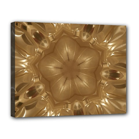 Elegant Gold Brown Kaleidoscope Star Canvas 14  X 11  by yoursparklingshop