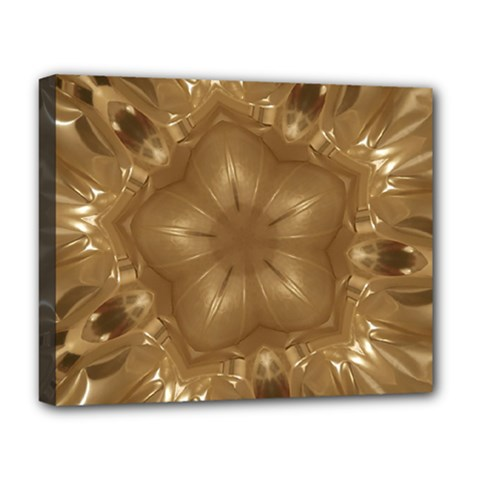 Elegant Gold Brown Kaleidoscope Star Deluxe Canvas 20  X 16   by yoursparklingshop