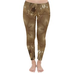 Elegant Gold Brown Kaleidoscope Star Classic Winter Leggings by yoursparklingshop