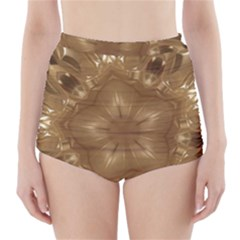 Elegant Gold Brown Kaleidoscope Star High Waisted Bikini Bottoms by yoursparklingshop