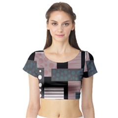 Collage  Short Sleeve Crop Top (tight Fit)