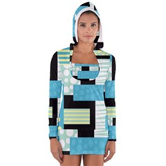 Blue Collage Women s Long Sleeve Hooded T Shirt