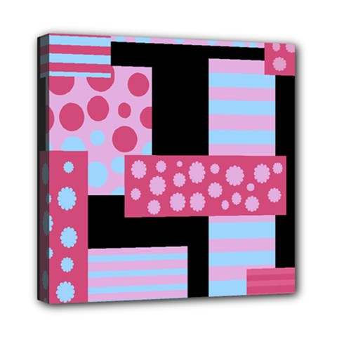 Pink Collage Mini Canvas 8  X 8  by Valentinaart