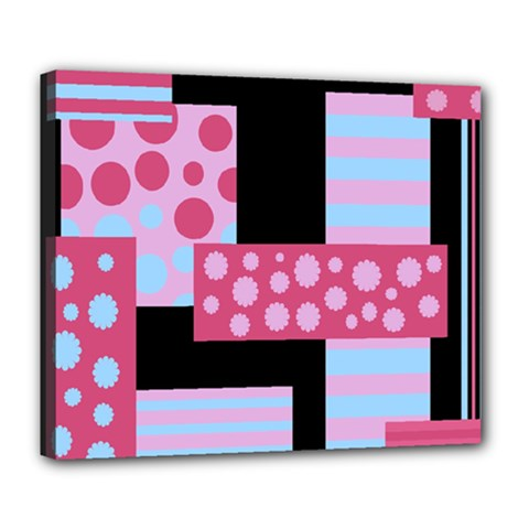 Pink Collage Deluxe Canvas 24  X 20   by Valentinaart