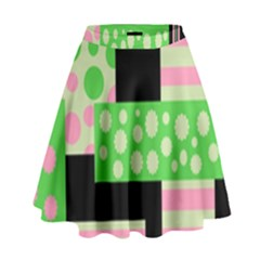 Green And Pink Collage High Waist Skirt by Valentinaart