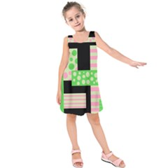 Green And Pink Collage Kids  Sleeveless Dress by Valentinaart
