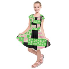 Green And Pink Collage Kids  Short Sleeve Dress by Valentinaart