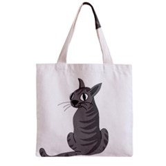 Gray Cat Zipper Grocery Tote Bag